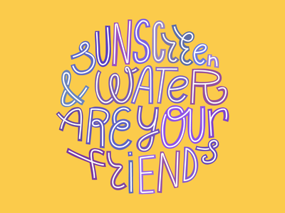 Sunscreen and water skincare skin hydration water sunscreen sun summer typography lettering