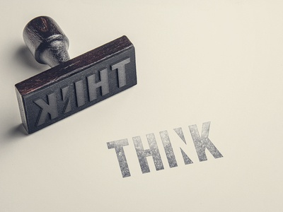 think stamp think paper branding negative space wordmark logo stamp