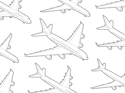 Planes! Planes! Planes! line art airlines isometric a380 777 747 planes infographic