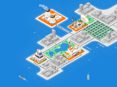 Isometric Peninsula  communication dish satellite manufacturing plant nuclear power plant hospital limited color city isometric