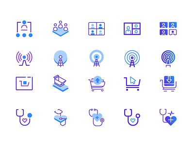 Icon exploration duotone isometric gradient icons iconography