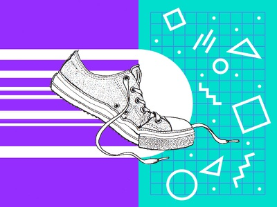 On the run micron ink converse teal purple vector hand-drawn shoe