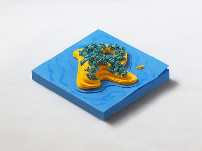 Post-it note island paper island boat photography isometric post-it note papercraft