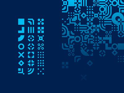 Bits shapes grid digital tech pattern
