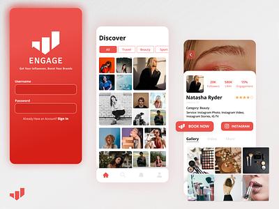 Engage Mobile Apps - Influencer Market uxdesign influencers designinspiration uidesign mobile ui figma uiuxdesign mobileapp indonesia