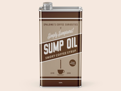 Sump Oil Coffee Syrup type tin coffee branding design packaging