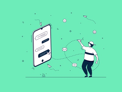 Chat mobile consulting app support emoji phone chat green clean business minimal 2d lineart vector illustration flat design character