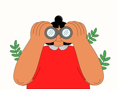 Search plants red binoculars girl illustration girl character girl character design characterdesign designs clean business minimal 2d vector flat illustration design character searching search