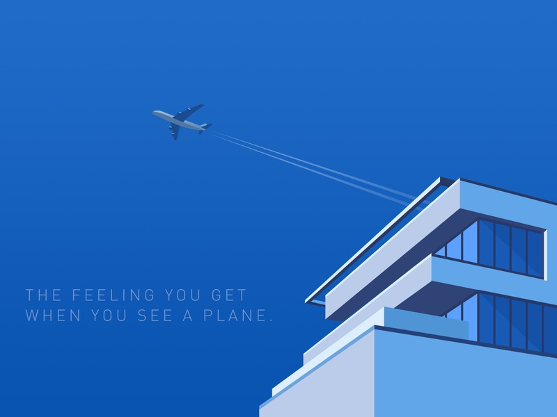 When You See a Plane modern sky aircraft airplane vector airline travel illustration