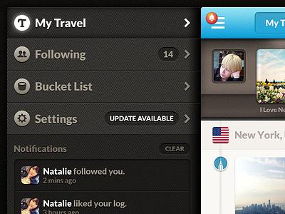 Travelog — Side Menu travelog iphone app side menu
