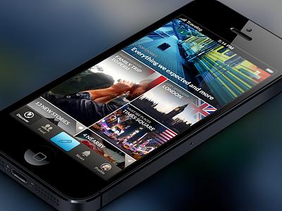 Travelog — Landing travelog iphone app ios travel grid flag