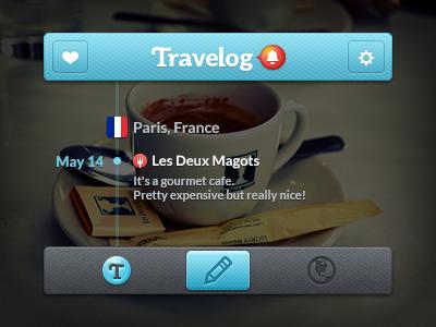 Travelog Mini GUI travelog iphone travel app notify notification navigation bar