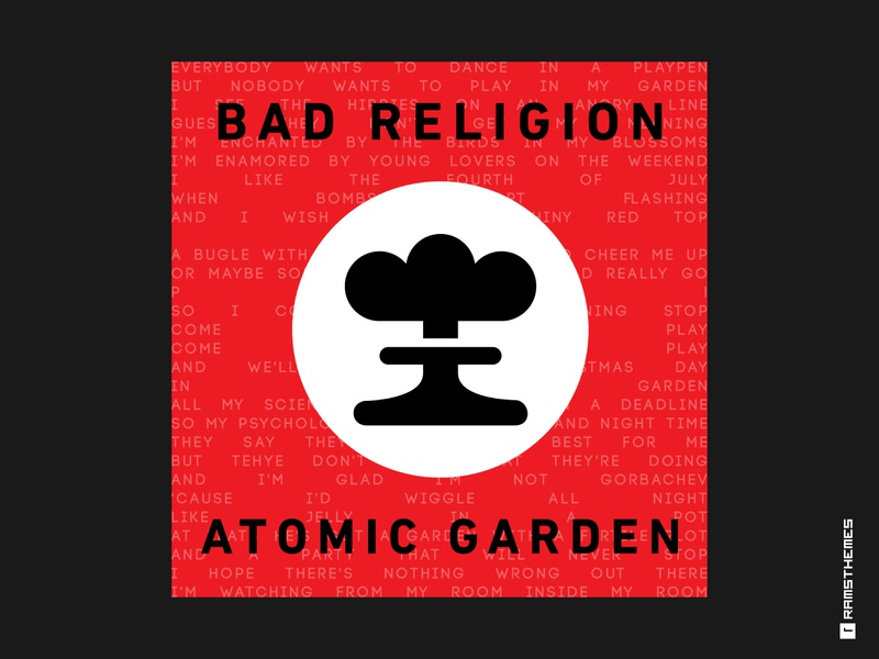 BAD RELIGION - ATOMIC GARDEN punk rock music black red weeklywarmup dribbbleweeklywarmup icon atomic garden vector typography minimalistic graphic design design