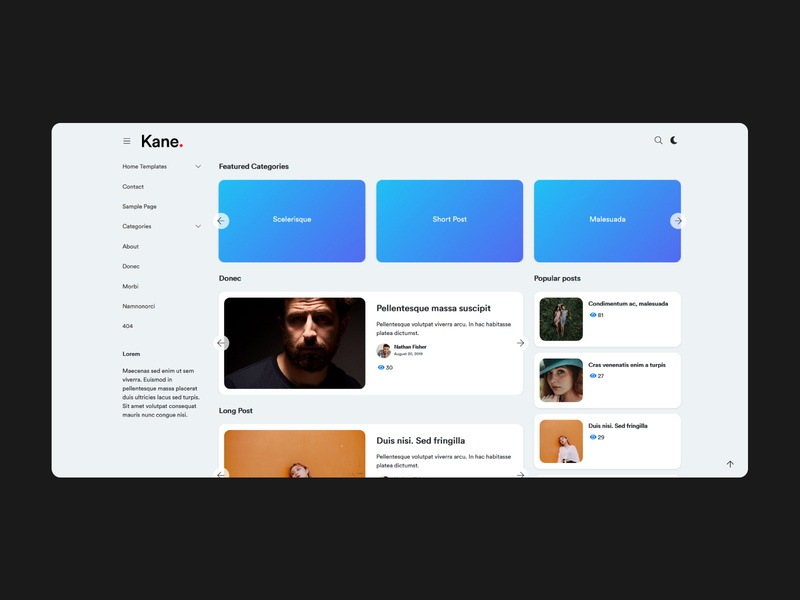 KANE - New WordPress Template Project Draft Shot rounded corners template template design ui ux web wordpress design interface design wordpress theme minimalistic graphic design design