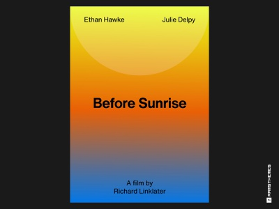 BEFORE SUNRISE (1995) Swiss Style Movie Poster swiss style sunrise poster design poster art movie poster poster helvetica romance movies typography minimalistic graphic design design
