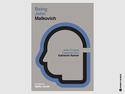 BEING JOHN MALKOVICH (1999) Swiss Style Movie Poster psychology drama charlie kaufman john malkovich graphic design design minimalistic typography movies helvetica poster movie poster poster art poster design swiss style
