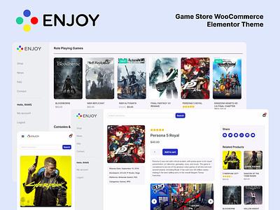 ENJOY - Game Store WooCommerce Theme 🎮 elementor woocommerce store games wordpress theme wordpress design minimalistic graphic design design