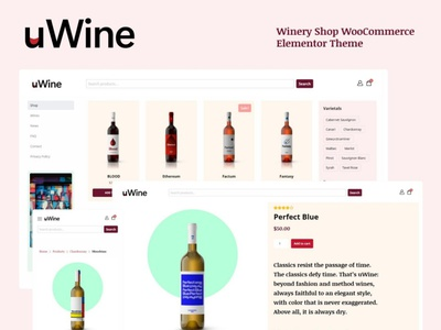 UWINE - Winery Store WooCommerce Theme 🍷 templates woocommerce ecommerce shop winery wine wordpress theme wordpress design minimalistic graphic design design
