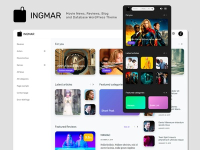 INGMAR - Movie News, Reviews and Blog WordPress Theme - Launch!