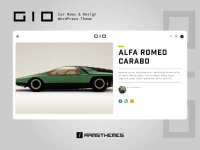GIO - Car News & Design WordPress Theme automotive design automotive giugiaro typekit layout design ux blog news cars icon ui web logo wordpress theme wordpress design typography graphic design minimalistic design
