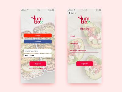 Yumbox Sign In UI