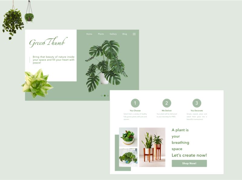 GreenThumb Landing Page #dailyUI 003 plants app branding logo ui design