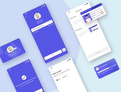 Customer Verification - KYC | Mobile App character creditcard minimal minimalist login payment wallet mobile app mobile design verify verification card clean design ux ui product design