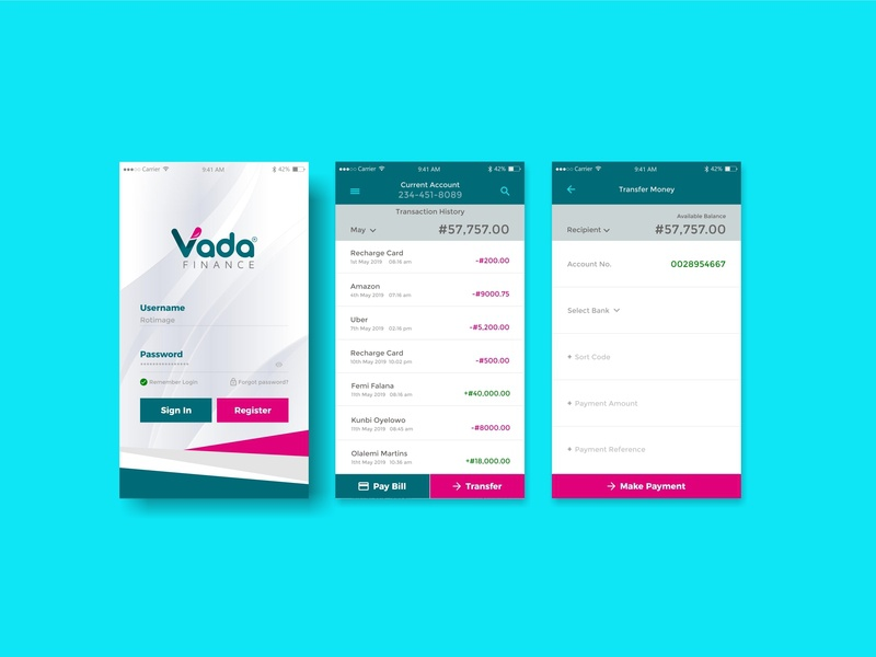 Banking App Design identity branding flat clean website web vector ux minimal icon uidesigner uidesign ui design app adobe xd