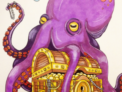 Octopus and treasure chest