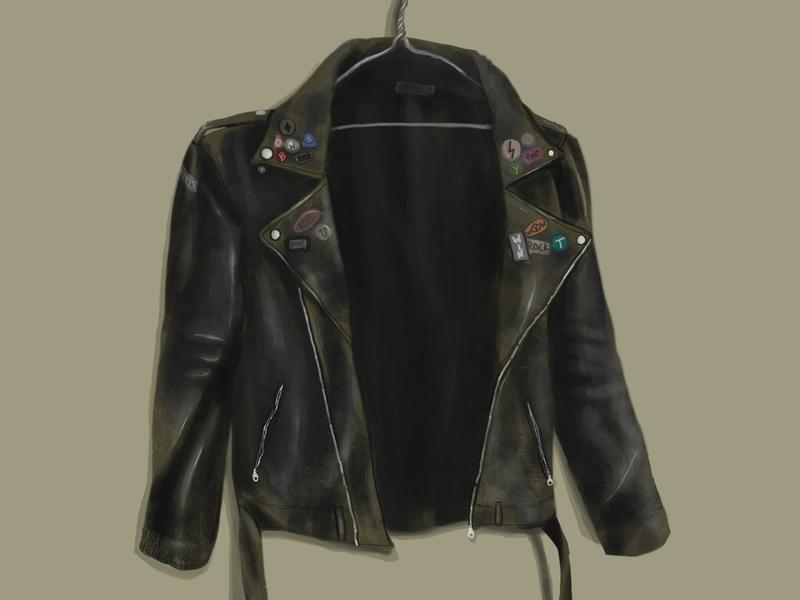 Leather Jacket (Ramones) ramones jacket logo poster cover design drawing digital painting cover art illustration digitalart design