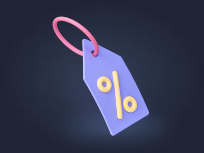 Offer Tag Icon - Shopicons 3D offer percentage tags coupon shopicons discount illustration ecommerce shopping minimal 3d