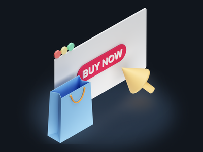 Web Shopping Icon - Shopicons 3D bag buy now cursor browser online web illustration design icons ecommerce shopping minimal 3d