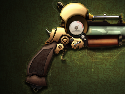 Steampunk Ray Gun wild west lightning gun stun gun gold pistol gun ray steampunk