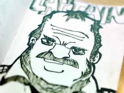 Captain Bacon captain bacon illustration concept sketch micron pen strokes paper ink sketching cartoon angry badass