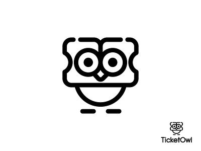 Ticket + Owl Logo Design Brand Identity - Unique, Smart icon vector brand identity corporate startup app icon branding brand ticket booking logo design owl logo owl