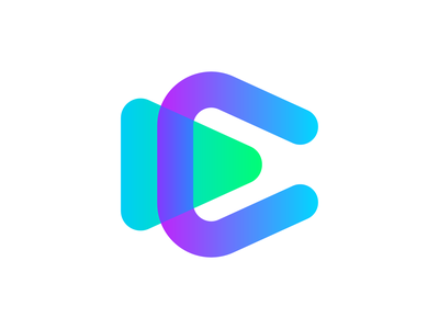 C letter + play button. Online video streaming logo design. monogram app icon icon brand identity branding concept logo watch tube streaming online video button play c letter c