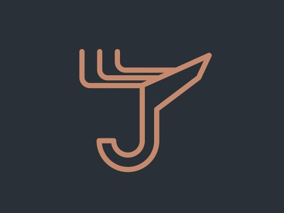 Deer logo. Deer + J letter logo concept. Brand identity. monogram icon brand identity branding wildlife stag outdoor mark logo hunting engraving deer buck antlers animal