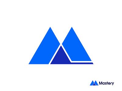 Mastery Logo / Mountain + Flag Brand Identity Concept monogram brand icon brand identity app icon logo design logo conquer coach flag mountain master mastery