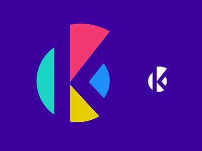 Abstract K Letter Round Monogram, Logo, Brand Identity icon brand identity app icon logo logo design brand branding colorful modern monogram letter k letter k abstract