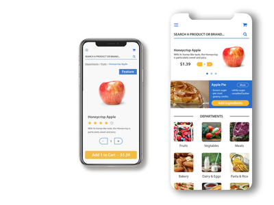 Mobile Grocery App | Walmart Inspired modern flat branding app walmart logo grocery app adobe illustrator ux ui design