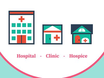 Hospital Clinic Hospice Vector Icons illustrator flat minimal web icon illustration design adobe illustrator vector