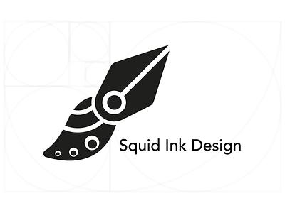 Squid Ink Design Logo Concept pentool brush black  white simple goldenratio creative elegant modern branding ink squid icon logo vector adobe illustrator