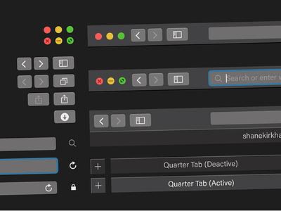 Apple Safari Mojave Toolbar Night Mode UI flat branding vector illustration app adobe illustrator ux ui illustrator design