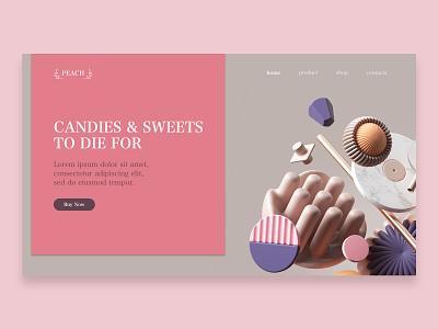 candy shop adobexd design lolipop candies sweets pink candy branding web website ux ui