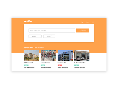 VestiGo | Population Density Tracker App Concept restaurants hotels malls app travel app travel safety orange web design product design uiux ui ui design concept