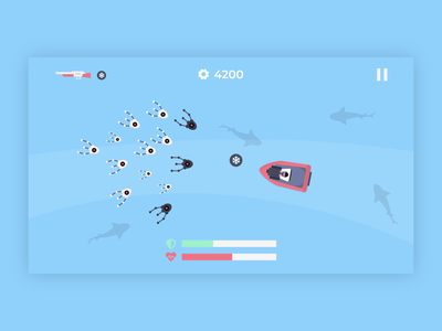 Fire Away! - Mobile Game Design gun boat droids ui assets 2d flat play joystick mobile android ux graphic design water