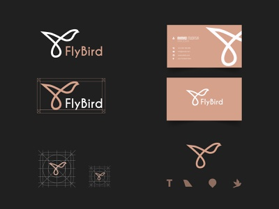 Fly Bird  Branding Design minimal minimalist logo branding and identity brand identity business card logo icon travel logo designer creative vector logo designer gradiant logo color graphic design branding logodesign