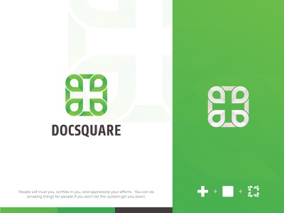 Docsquare : Medical Logo logoinspiration brand and identity branding design nature green logo doctor logo medical trendylogo 2021 modernlogo medical logo creative logo designer logo color gradiant graphic design branding logodesign