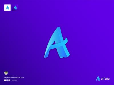 Ariana : A letter logo logo brand identity a logo concept logo design concept trend logo letter logo mark letter logos letter a logo letter logo a logo vector design logo designer logo color gradiant graphic design branding logodesign