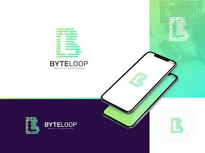 Byte loop : Tech Logo simple b mark letter logo tech byte symbol icon creative logos gradiant logo designer logo color graphic design logodesign branding